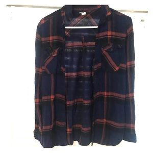 BDG / UO Navy and Red Light Weight Flannel Small